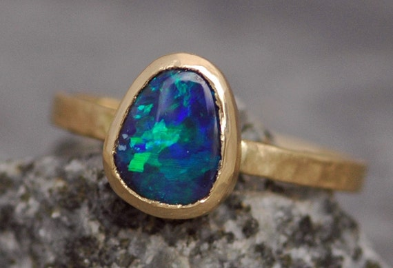 Black Opal in Recycled 14k or 18k Rose, White, or Yellow Gold Ring- Made to Order Choose Your Opal