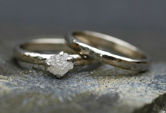 Conflict-Free Rough Large Diamond Engagement Ring and Wedding Band in Recycled 14k White, Rose,  or Yellow Gold- One Carat Size C Diamonds