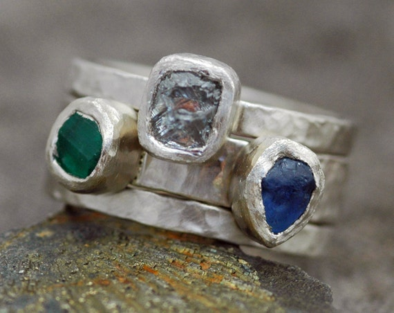 Multistone Custom 18k Recycled Gold Stacking Engagement and Wedding  Three Ring Set- Rough Diamond, Sapphire, and Raw Emerald