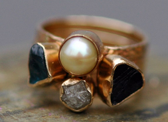 Multistone Three Stacking Rings- Custom 14k Gold  Set With Pearl, Rough Diamond, and  Raw Gemstones