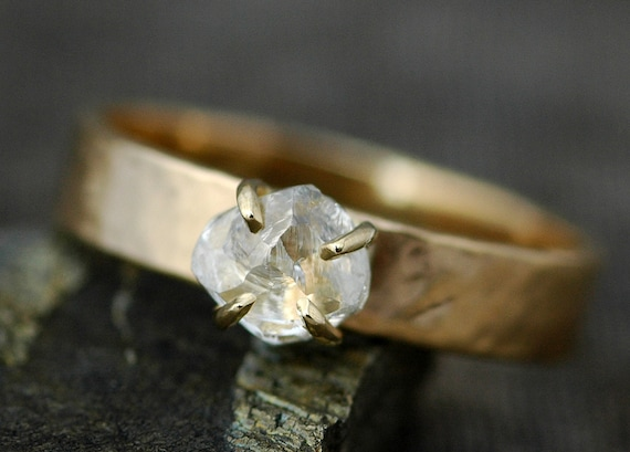Engagement Ring- Transparent Raw Diamond on Wide Recycled Gold Band- Custom Made Engagement Ring