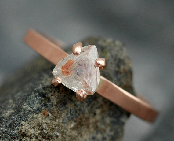 Transparent Raw Rough  Macle Diamond on Thin Recycled Gold Band- Custom Made Engagement Ring