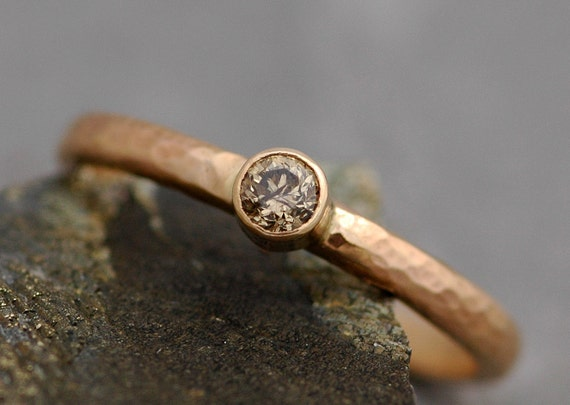 Chocolate Cognac Diamond in Solid 14k or 18k Recycled Gold Ring- Made to Order