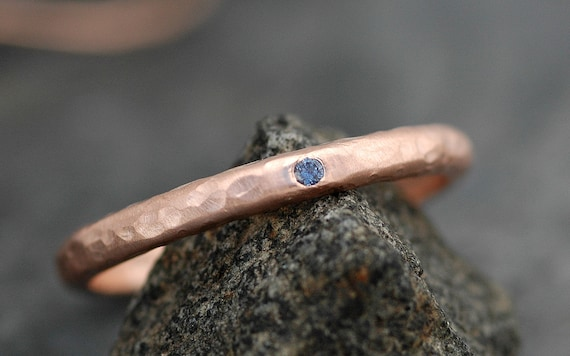 Gold Stacking Ring with Flush Set Yogo Gulch Sapphire- 14k or 18k Recycled White, Yellow, or Rose Gold