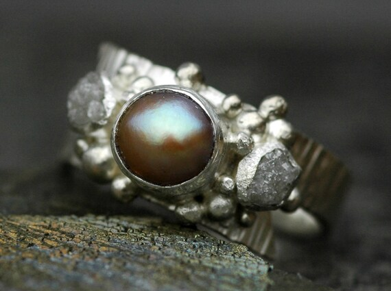 Raw Rough Diamonds and Copper Pearl in Textured Sterling Silver Ring- Custom Made