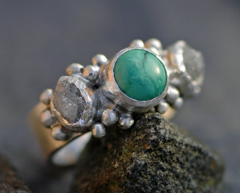 Rough Diamond and Turquoise  Ring Custom Made Custom Colour image 0
