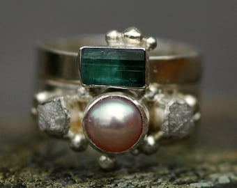 Rough Diamond and Pearl Engagement Band and Wedding Stacking  Ring with Rough Specimen Set- Custom Made Custom Colour