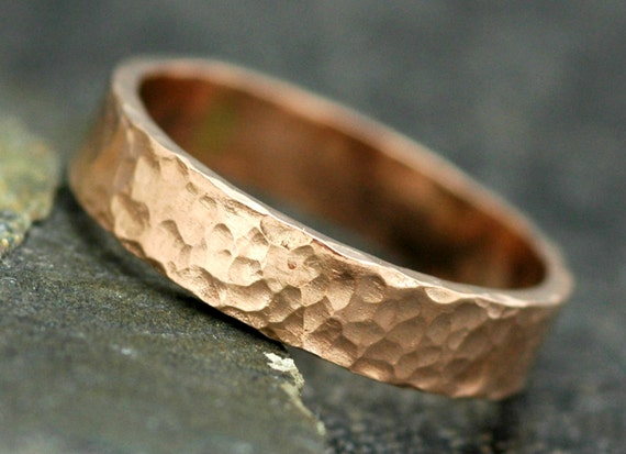 Rose Gold Band- 14k Gold, Hammered Finish
