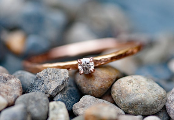 Salt and Pepper Diamond on Thin Solid Recycled 14k Rose Gold Stacking Engagement Ring Size 8 Ready To Ship