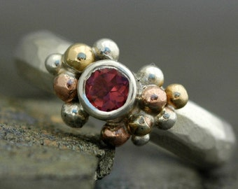 Pink Tourmaline in Sterling Silver, Rose Gold, and Yellow Gold Ring- Custom Made