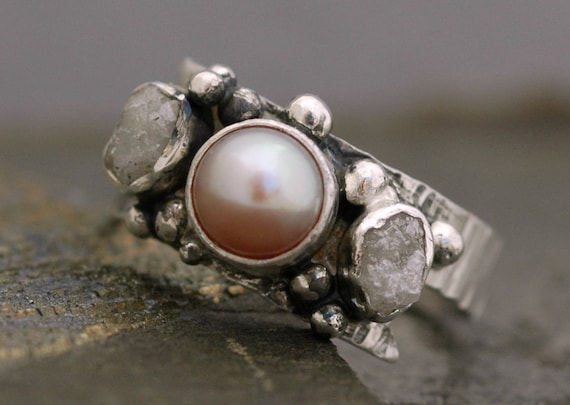 Raw Rough Diamonds and Lavender Pink Pearl in Textured Sterling Silver Ring- Custom Made