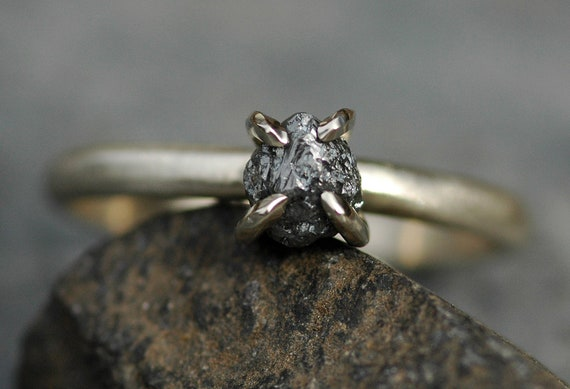 Natural Black Raw Rough Diamond on 14k White Gold Engagement Ring- Ready to Ship Natural Untreated Uncut Diamond Ring