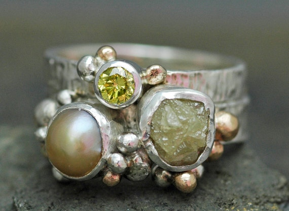 Multistone Freshwater Pearl, Rough Diamond, and Yellow Diamond Sterling Silver and Yellow Gold Ring Stack- Custom Made