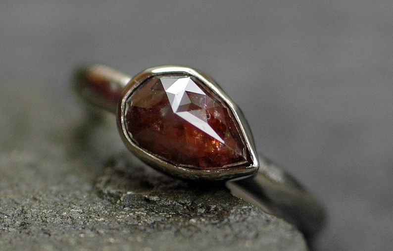 Rose Cut Diamond in  Recycled 14k Gold Ring Custom Made to image 0
