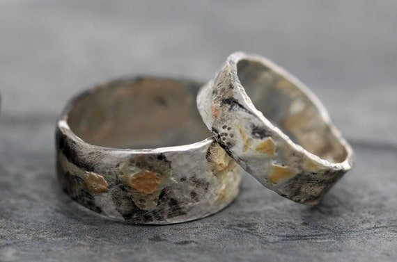 Sterling Silver and Yellow Gold Band- Made To Order Mixed Metal Ring