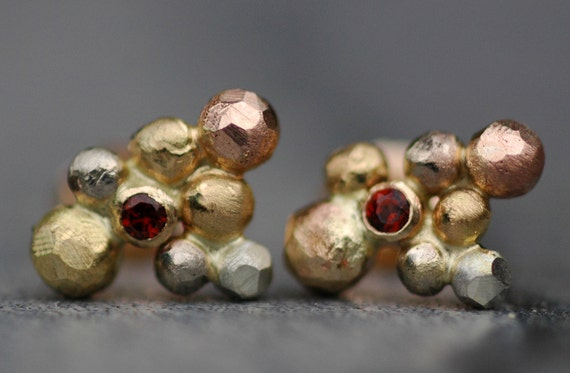 Spessartine Garnets in Orb Cluster Rose, White, and Yellow Gold and Silver Post Earrings- Ready to Ship