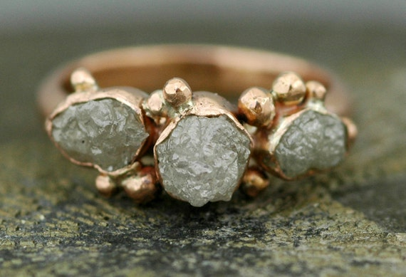Trio Rough Raw Diamonds on Recycled White, Rose, or Yellow Gold Engagement Ring- Reserved