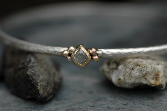 Raw Rough Diamond Rose Gold Yellow Gold and Sterling Silver Bangle Bracelet Ready To Ship