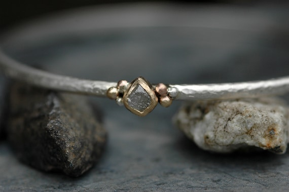Raw Rough Diamond Rose Gold Yellow Gold ad Sterling Silver Bangle Bracelet Made To Order