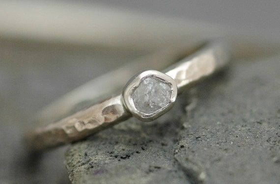 Bezel-Set Rough  Diamond Stacker Ring in Recycled 14k White, Rose, or Yellow Gold- Size B Diamonds