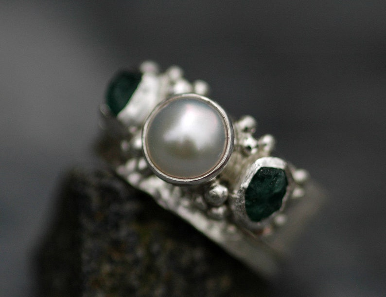 Raw Emerald and Pearl Sterling Silver Ring One Ring or Two image 0