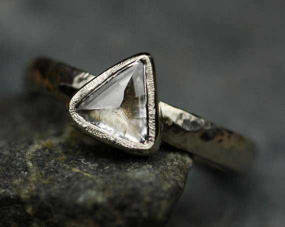 Canadian Raw Diamond in Recycled 18k Gold or Platinum Engagement Ring- Custom Made to Order Rough Uncut Diamond Stone Ring