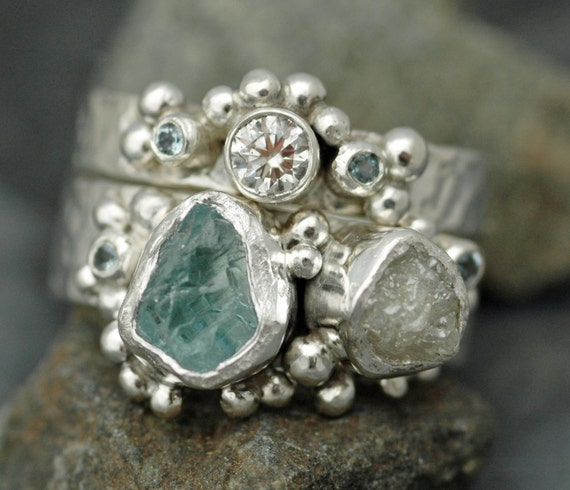 Multistone Raw Aquamarine, Rough Raw and Cut Diamond Sterling Silver or Gold Stacking Ring Set- Two Custom Made Rings