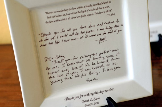 Thank You Letter To Parents | Personal Letter To Parents On A Platter Wedding Gift From Etsy