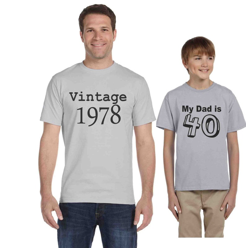 d3c82be2 Matching tees 40th birthday shirt set of 2 shirts My dad is 40   Etsy