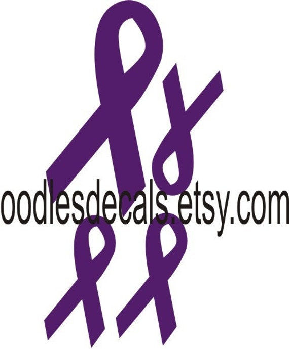 purple ribbon cancer awareness iron on fabric decal transfer etsy