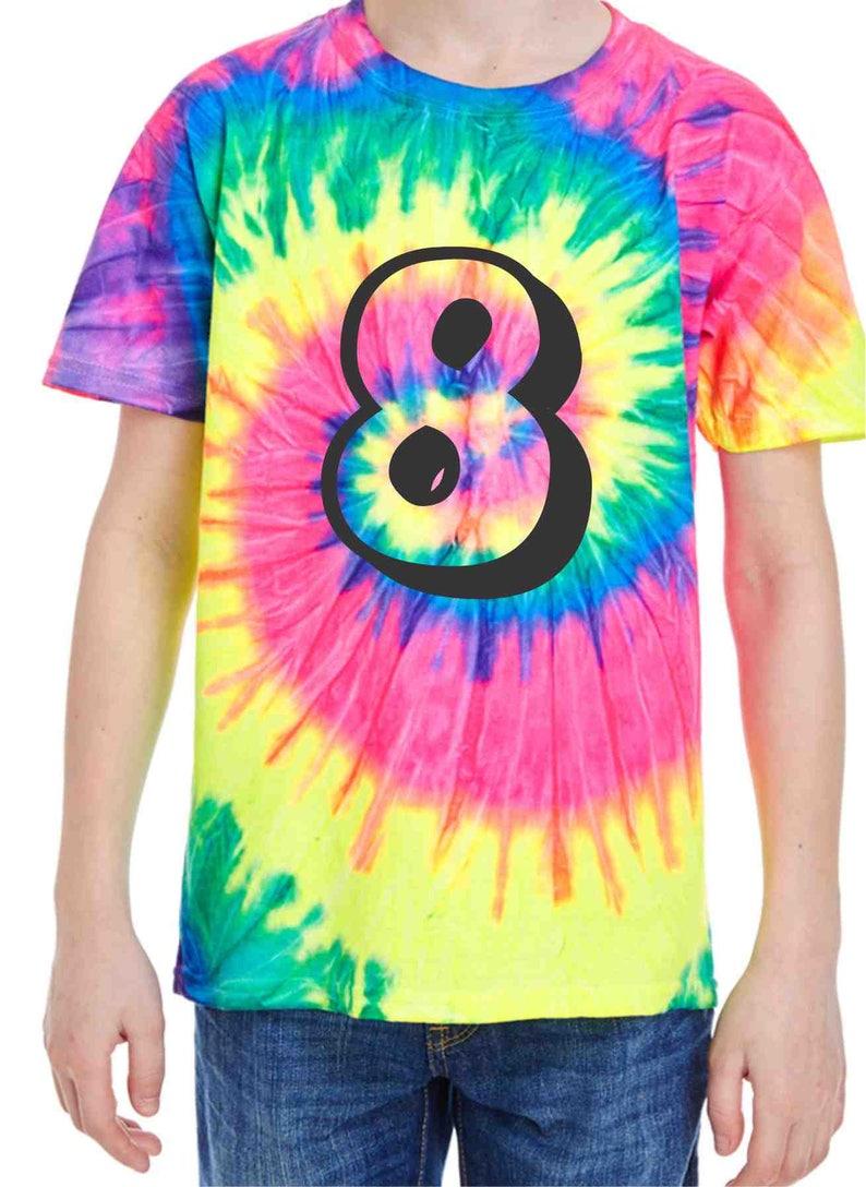 Tie Dye Shirt Kids 8th Birthday Number Shirts Birthday