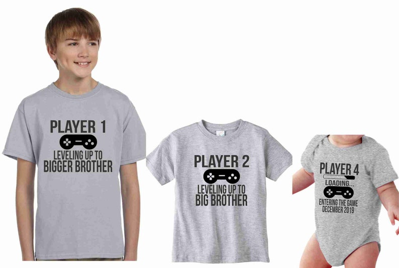 501c7c7f Sibling Shirt Set of 3 Leveling Up Big Brother Player 1 2 3 | Etsy
