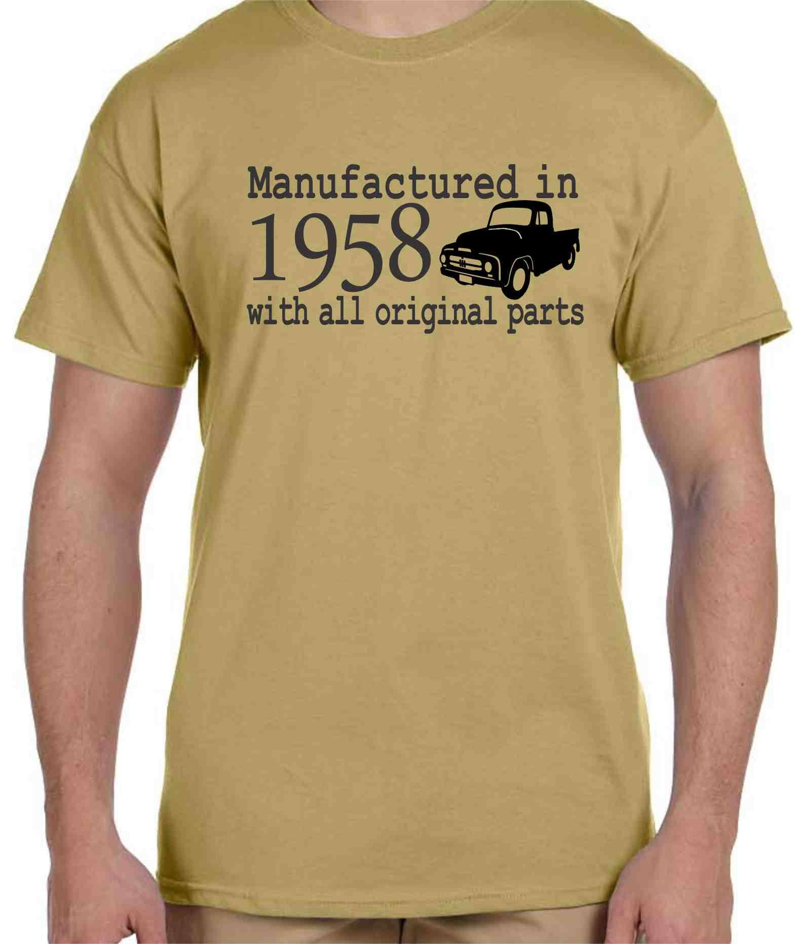60th Birthday Shirt Custom Gifts For Men Classic Truck Manufactured In 1958 All Original Parts Shirts Him