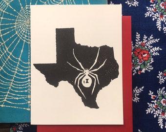 Texas Widow Block Print Card