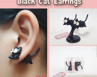 Kawaii Earring,  Black Cat Stud Polymer Clay Handmade 3D Earring, Gift for Cutie woman girl, Ready to be Gift