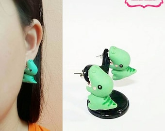 Kawaii Earring, T-Rex Bite Dino Earrings Stud Polymer Clay Handmade 3D Earring, Gift for Cutie woman girl, Ready to be Gift