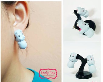 Kawaii Earring, Hippo Bite Animal Earrings Stud Polymer Clay Handmade 3D Earring, Gift for Cutie woman girl, Ready to be Gift