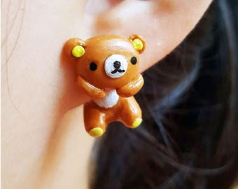 Kawaii Earring, Little Bear Earrings Stud Polymer Clay Handmade 3D Earring, Like the bear hanging on your ears, Ready to be Gift