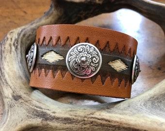 Southwestern Floral Concho Leather Cuff