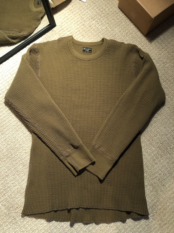 HomeSpun Knitwear Waffle Thermal Long Sleeve Army
