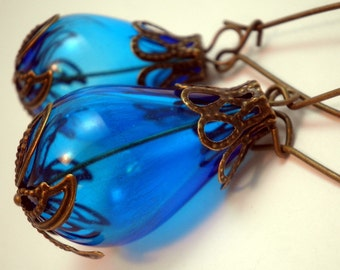 Hollow Glass Earrings - Sapphire Blue Hollow Glass Teardrop Beads with Brass Accents
