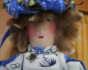 "Handmade Primitive  Doll  21"" -Peta's Polish Pottery Pitcher of Posie's"""