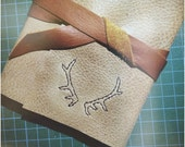 Antlers Leather Journal - 6 x 4 Hand Embroidered Blank Book - Nature Embroidery - Deer Stag - A6 Soft Wrap Cover