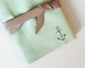 Anchor Leather Journal - 6 x 4 Hand Embroidered Blank Book - Travel - Nautical - A6 Soft Wrap Cover