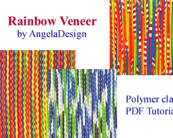 Polymer Clay Tutorial, Rainbow veneer pattern,  Faux fabric, Tutorial , eBook ,PDF, polymer clay