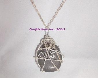 Stone Necklace, Black Onix Stone Necklace, Wirewrapped Necklace, Handmade Necklace, Necklace