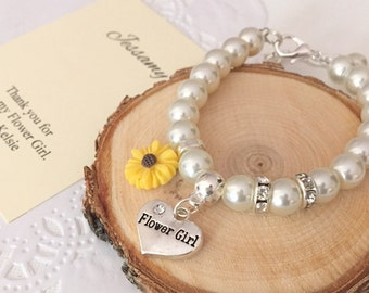 Flower Girl, bracelet, adjustable, sunflower, glass pearl, personalized, bracelet. Comes with FREE card and organza bag.