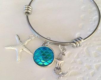 Mermaid bracelet, kids jewelry, bangle, charm bracelet, mermaid scale, starfish charm, birthday gift.