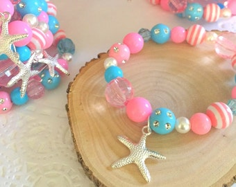Mermaid party favor, starfish, children, child, kids, birthday, party favor, pink blue beaded, bracelets, stretchy jewelry, Set of TEN.