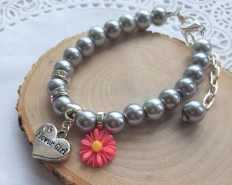 Flower Girl, bracelet, adjustable, other colors available, personalized, initial bracelet. Choose flowers.